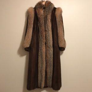 Vintage Mahogany mink coat with  crystal fox trim.
